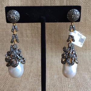 Jewelry - DIAMOND & FRESH WATER PEARL DROP  EARRINGS